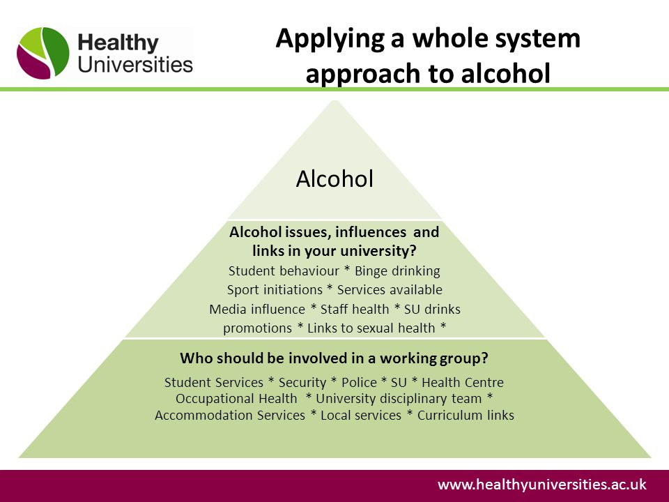 Applying a whole system approach to alcohol www.healthyuniversities.ac.uk Alcohol Alcohol issues, influences and links in your university.