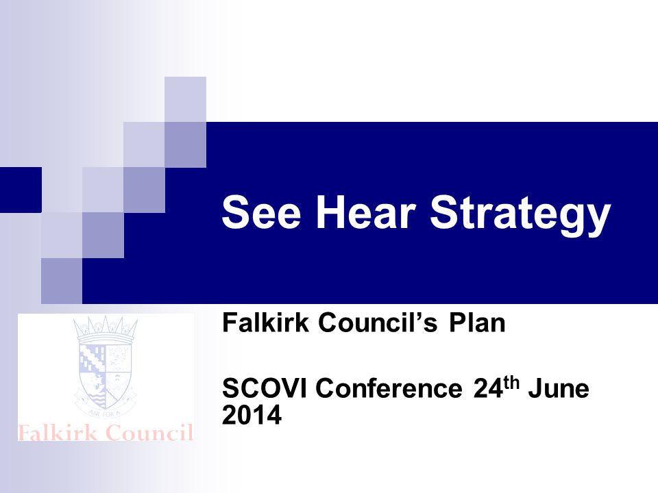 See Hear Strategy Falkirk Council's Plan SCOVI Conference 24 th June 2014