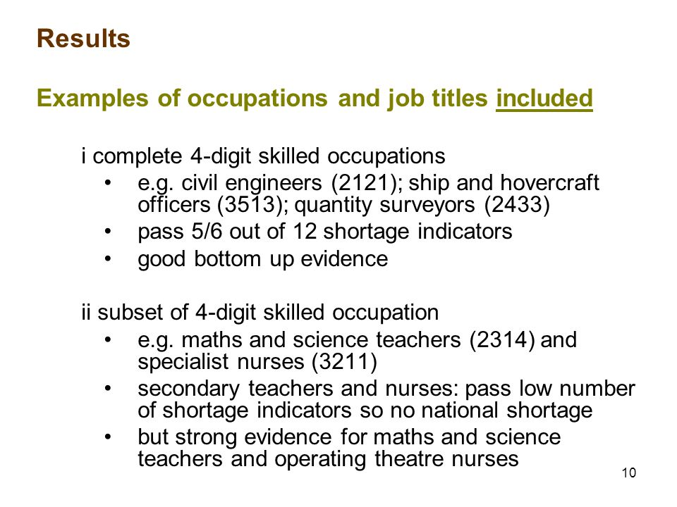 10 Results Examples of occupations and job titles included i complete 4-digit skilled occupations e.g.
