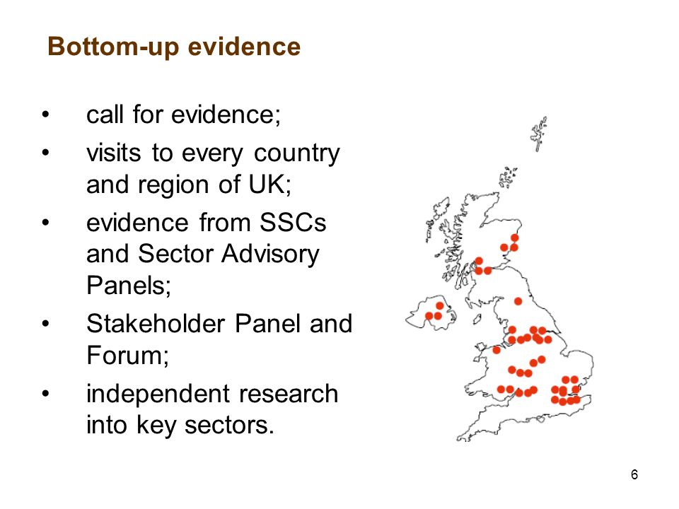 6 Bottom-up evidence call for evidence; visits to every country and region of UK; evidence from SSCs and Sector Advisory Panels; Stakeholder Panel and Forum; independent research into key sectors.