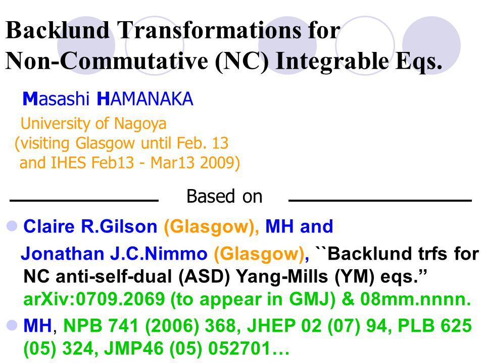 Backlund transformation for NC Yang's eq.