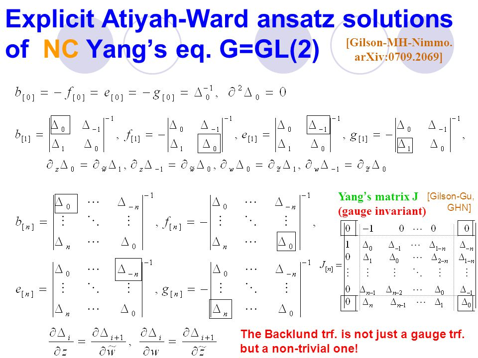 Explicit Atiyah-Ward ansatz solutions of NC Yang's eq.