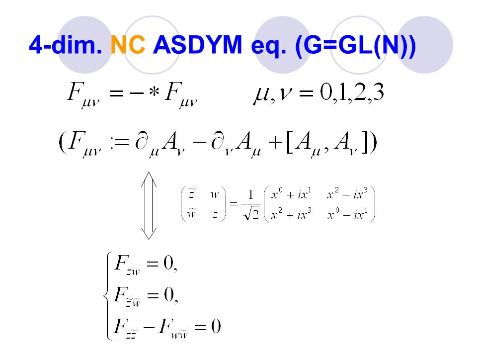 Generated solutions (NC Atiyah-Ward sols.) Let ' s consider the combined Backlund trf.