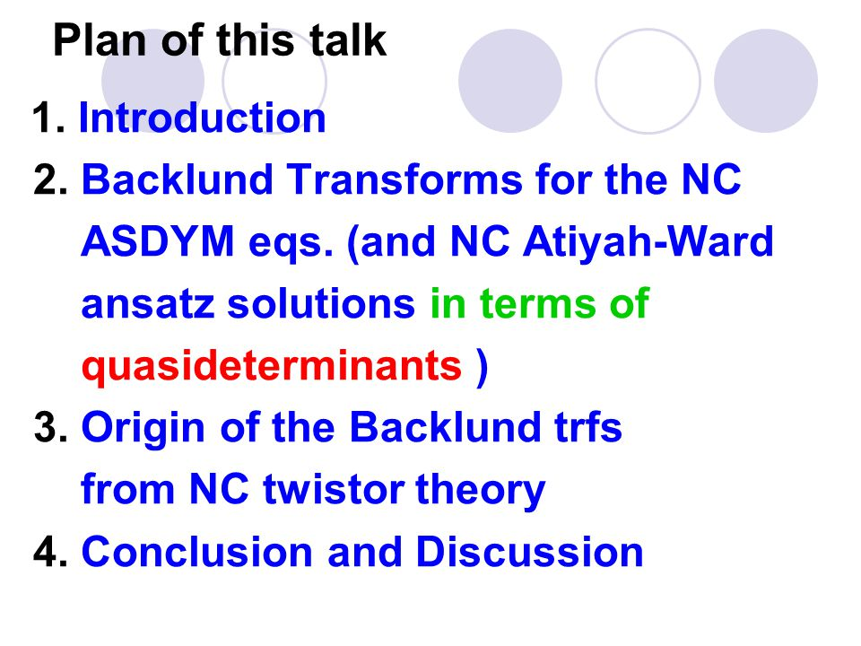 Plan of this talk 1. Introduction 2. Backlund Transforms for the NC ASDYM eqs.