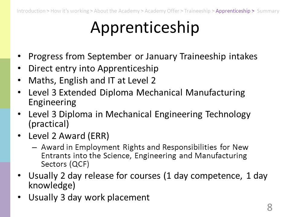 Apprenticeship Progress from September or January Traineeship intakes Direct entry into Apprenticeship Maths, English and IT at Level 2 Level 3 Extended Diploma Mechanical Manufacturing Engineering Level 3 Diploma in Mechanical Engineering Technology (practical) Level 2 Award (ERR) – Award in Employment Rights and Responsibilities for New Entrants into the Science, Engineering and Manufacturing Sectors (QCF) Usually 2 day release for courses (1 day competence, 1 day knowledge) Usually 3 day work placement 8 Introduction > How it's working > About the Academy > Academy Offer > Traineeship > Apprenticeship > Summary
