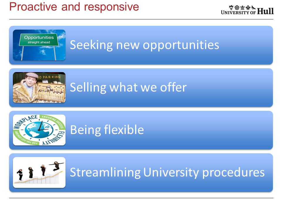 Proactive and responsive Seeking new opportunities Selling what we offer Being flexible Streamlining University procedures