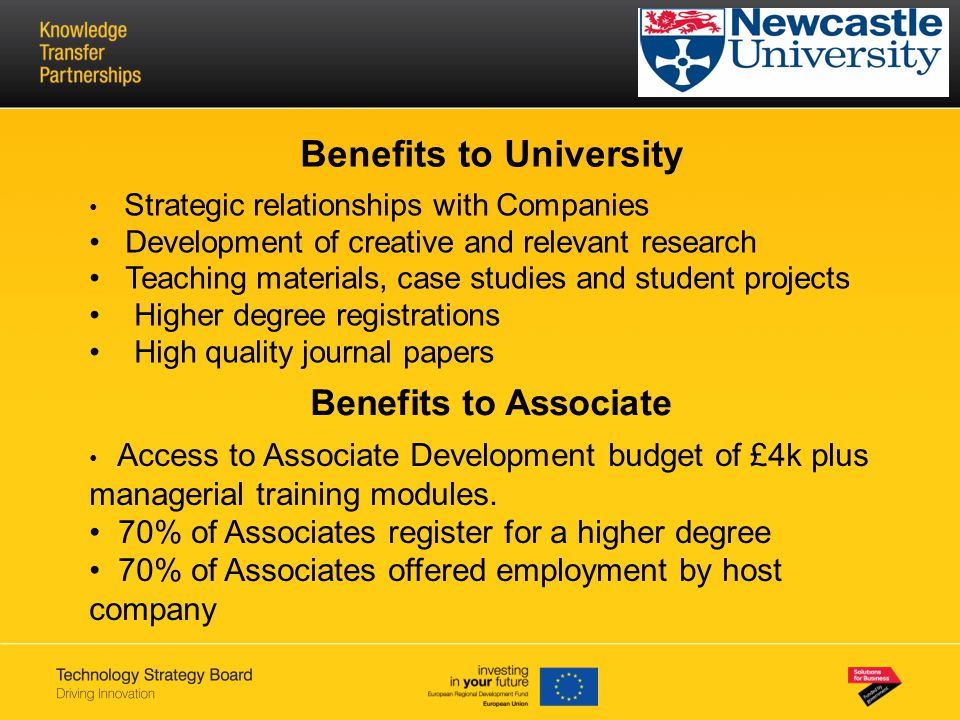 Benefits to University Strategic relationships with Companies Development of creative and relevant research Teaching materials, case studies and stude