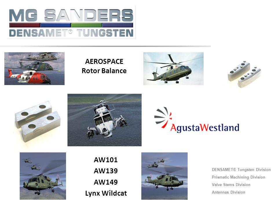 DENSAMET® Tungsten Division Prismatic Machining Division Valve Stems Division Antennas Division AW101 AW139 AW149 Lynx Wildcat AEROSPACE Rotor Balance