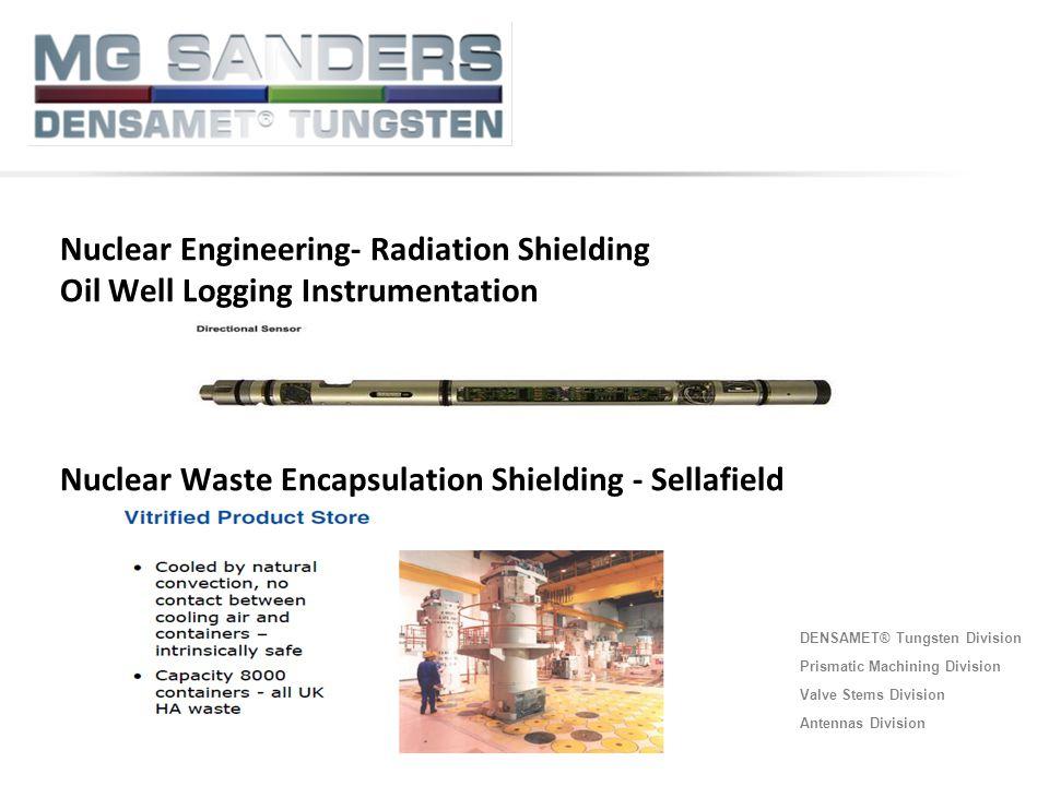 DENSAMET® Tungsten Division Prismatic Machining Division Valve Stems Division Antennas Division Nuclear Engineering- Radiation Shielding Oil Well Logg