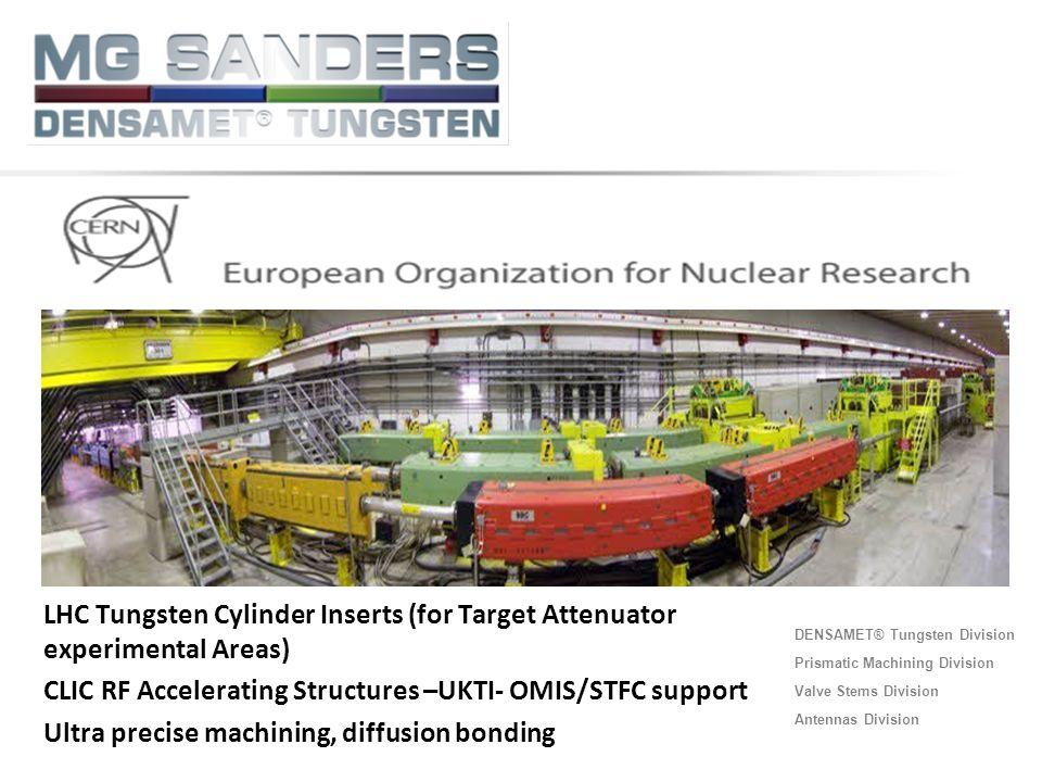 DENSAMET® Tungsten Division Prismatic Machining Division Valve Stems Division Antennas Division LHC Tungsten Cylinder Inserts (for Target Attenuator e