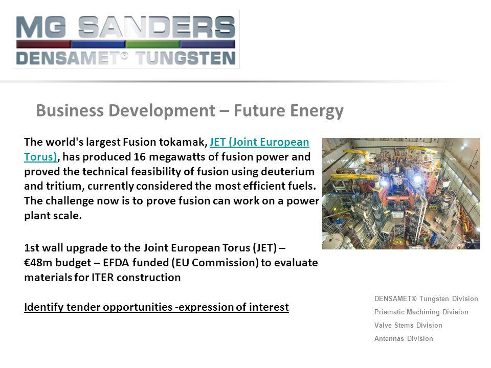 DENSAMET® Tungsten Division Prismatic Machining Division Valve Stems Division Antennas Division The world's largest Fusion tokamak, JET (Joint Europea