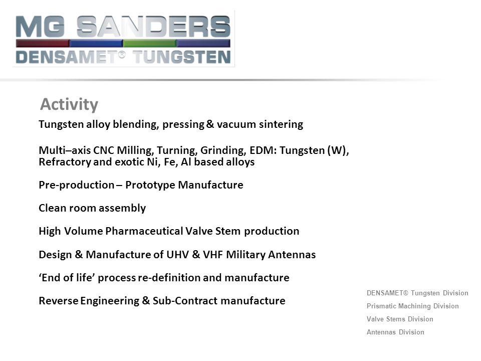 DENSAMET® Tungsten Division Prismatic Machining Division Valve Stems Division Antennas Division ◄ Tungsten LB-SRP Activity Tungsten alloy blending, pr