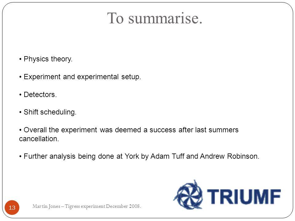 To summarise. Martin Jones – Tigress experiment December 2008.