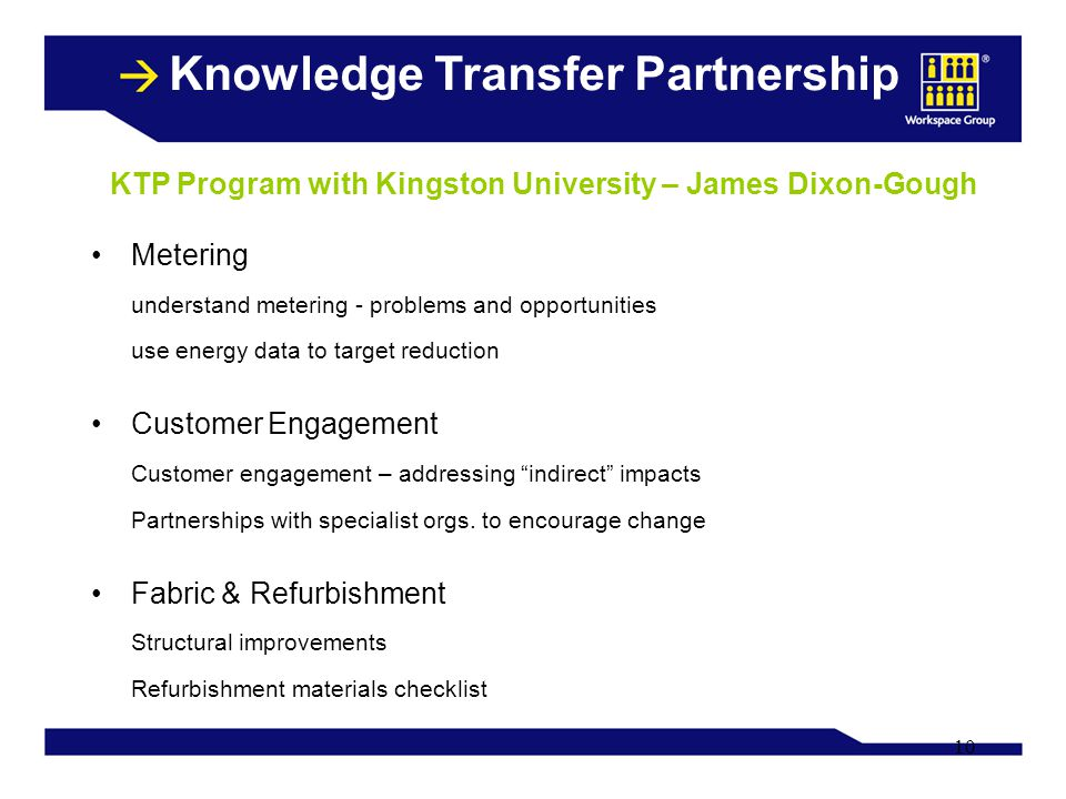 10 Knowledge Transfer Partnership Metering understand metering - problems and opportunities use energy data to target reduction Customer Engagement Cu