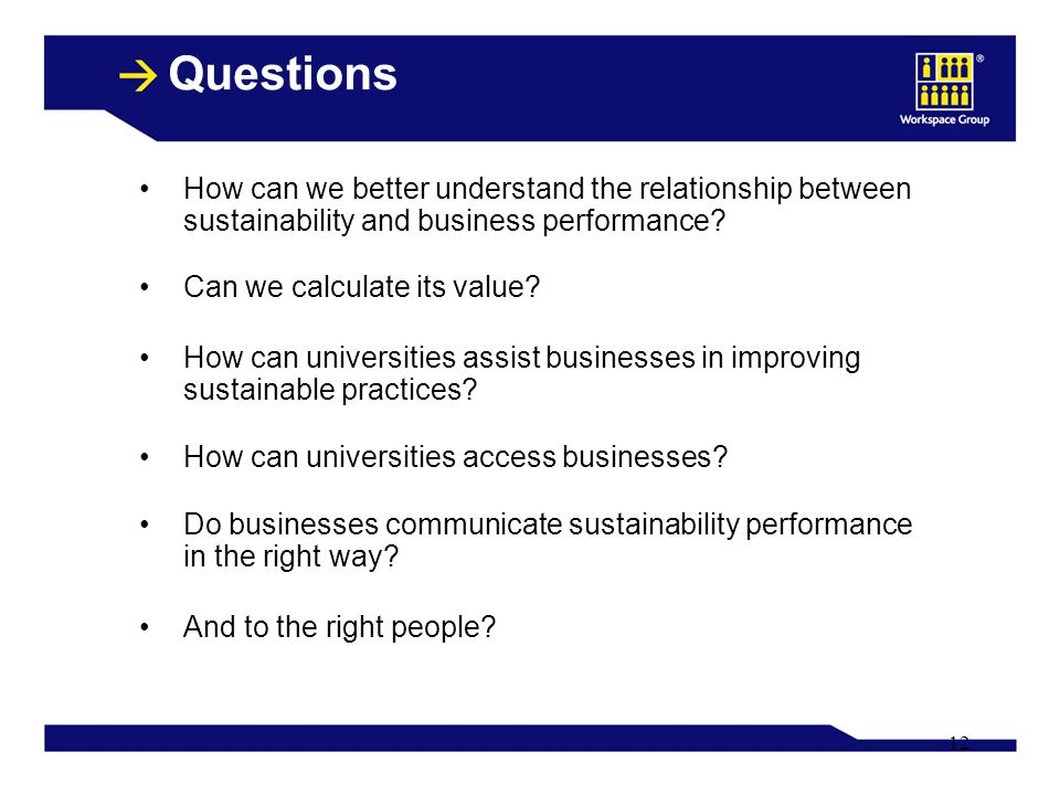 12 Questions How can we better understand the relationship between sustainability and business performance.