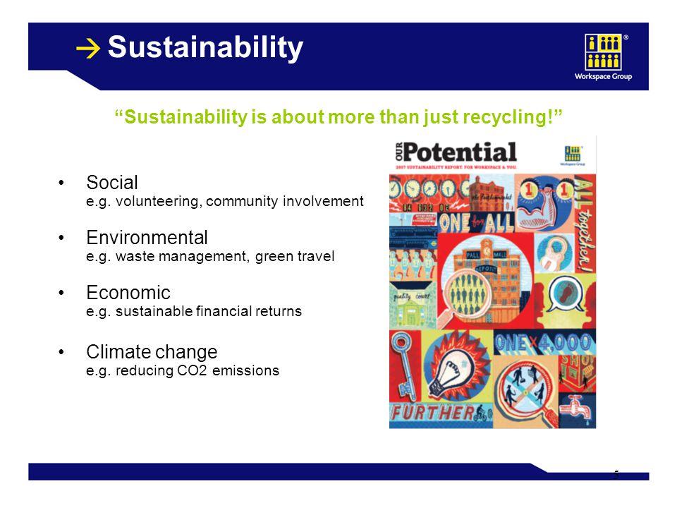 5 Sustainability Social e.g. volunteering, community involvement Environmental e.g. waste management, green travel Economic e.g. sustainable financial