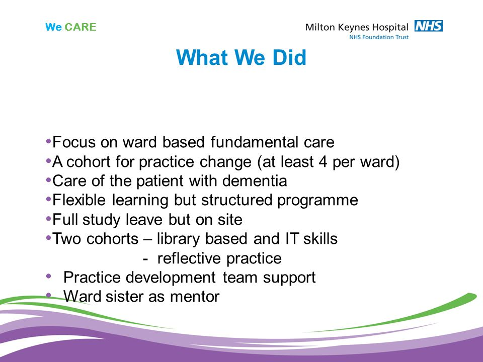 We CARE What We Did Focus on ward based fundamental care A cohort for practice change (at least 4 per ward) Care of the patient with dementia Flexible learning but structured programme Full study leave but on site Two cohorts – library based and IT skills - reflective practice Practice development team support Ward sister as mentor