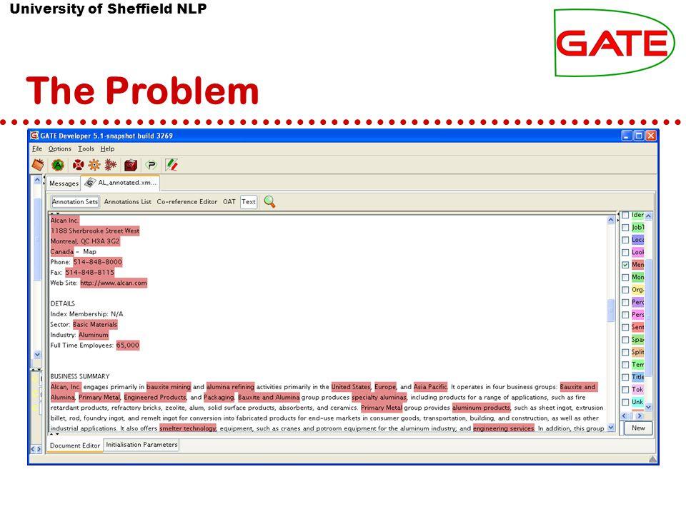 University of Sheffield NLP The Problem