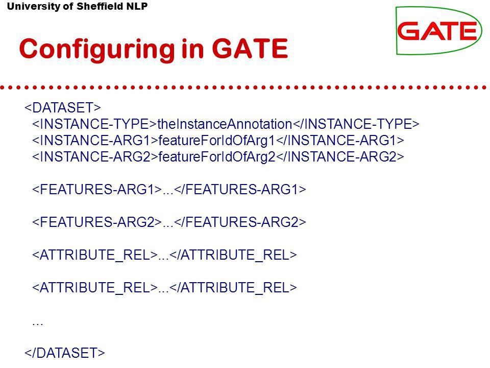 University of Sheffield NLP Configuring in GATE theInstanceAnnotation featureForIdOfArg1 featureForIdOfArg2...