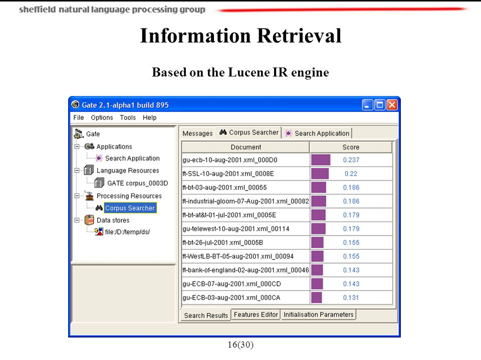 16(30) Information Retrieval Based on the Lucene IR engine