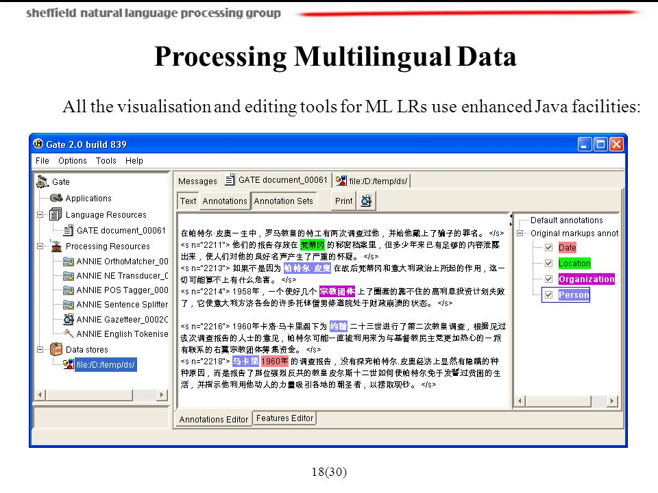 18(30) Processing Multilingual Data All the visualisation and editing tools for ML LRs use enhanced Java facilities: