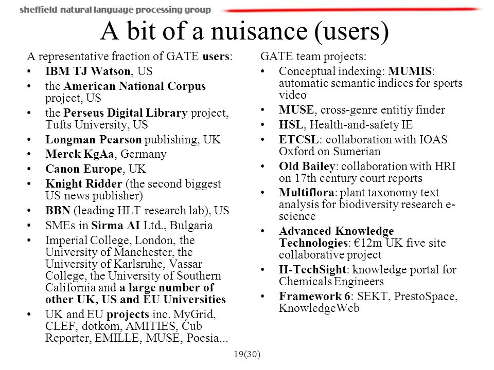 19(30) A bit of a nuisance (users) GATE team projects: Conceptual indexing: MUMIS: automatic semantic indices for sports video MUSE, cross-genre entitiy finder HSL, Health-and-safety IE ETCSL: collaboration with IOAS Oxford on Sumerian Old Bailey: collaboration with HRI on 17th century court reports Multiflora: plant taxonomy text analysis for biodiversity research e- science Advanced Knowledge Technologies: €12m UK five site collaborative project H-TechSight: knowledge portal for Chemicals Engineers Framework 6: SEKT, PrestoSpace, KnowledgeWeb A representative fraction of GATE users: IBM TJ Watson, US the American National Corpus project, US the Perseus Digital Library project, Tufts University, US Longman Pearson publishing, UK Merck KgAa, Germany Canon Europe, UK Knight Ridder (the second biggest US news publisher) BBN (leading HLT research lab), US SMEs in Sirma AI Ltd., Bulgaria Imperial College, London, the University of Manchester, the University of Karlsruhe, Vassar College, the University of Southern California and a large number of other UK, US and EU Universities UK and EU projects inc.