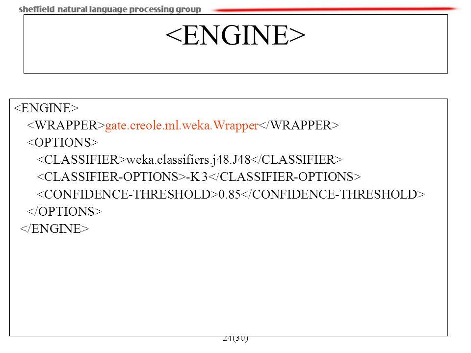 24(30) gate.creole.ml.weka.Wrapper weka.classifiers.j48.J48 -K 3 0.85