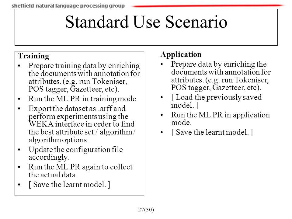27(30) Standard Use Scenario Training Prepare training data by enriching the documents with annotation for attributes.