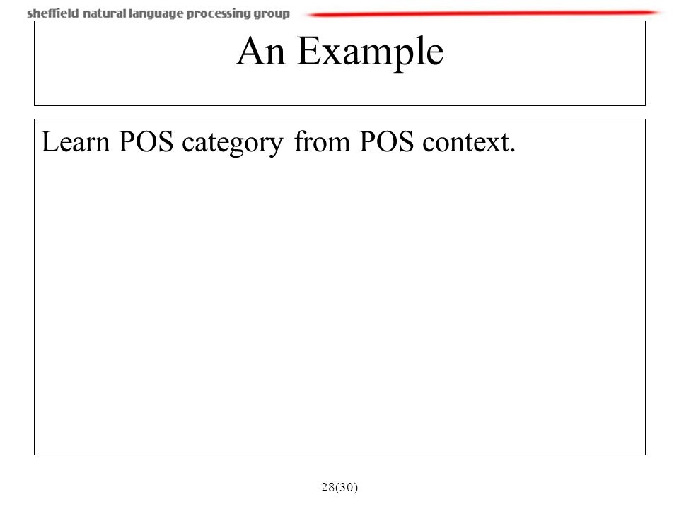 28(30) An Example Learn POS category from POS context.