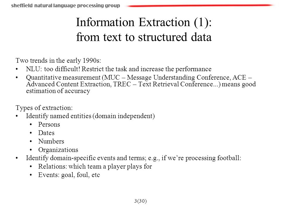 3(30) Information Extraction (1): from text to structured data Two trends in the early 1990s: NLU: too difficult.