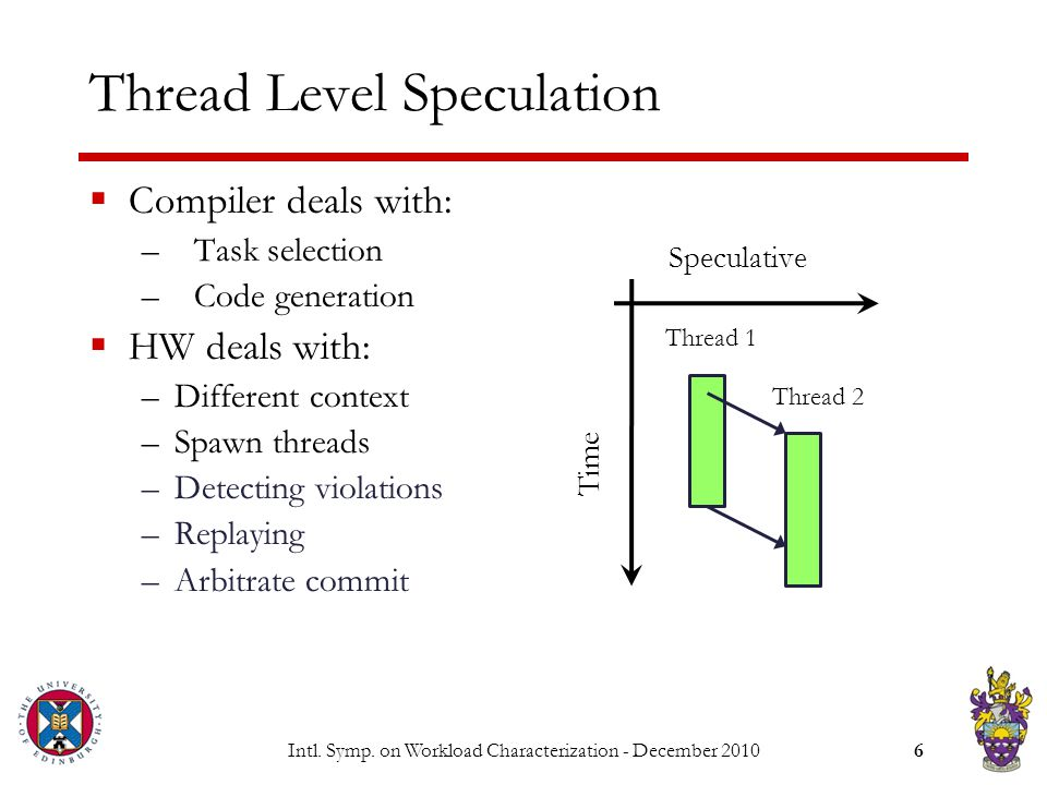Intl. Symp. on Workload Characterization - December 20106 Thread Level Speculation  Compiler deals with: –Task selection –Code generation  HW deals