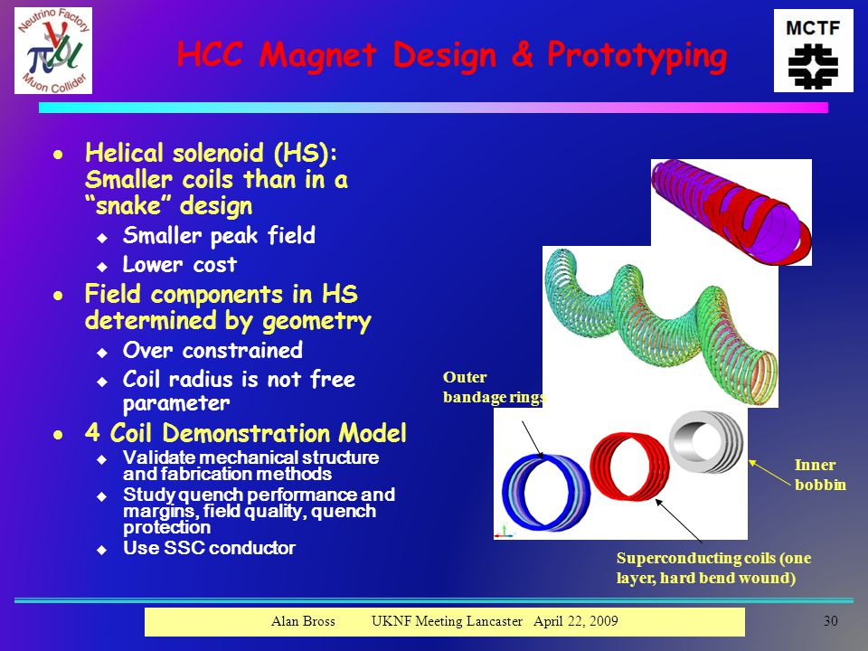 HCC Magnet Design & Prototyping  Helical solenoid (HS): Smaller coils than in a snake design u Smaller peak field u Lower cost  Field components in HS determined by geometry u Over constrained u Coil radius is not free parameter  4 Coil Demonstration Model u Validate mechanical structure and fabrication methods u Study quench performance and margins, field quality, quench protection u Use SSC conductor Outer bandage rings Inner bobbin Superconducting coils (one layer, hard bend wound) 30Alan Bross UKNF Meeting Lancaster April 22, 2009