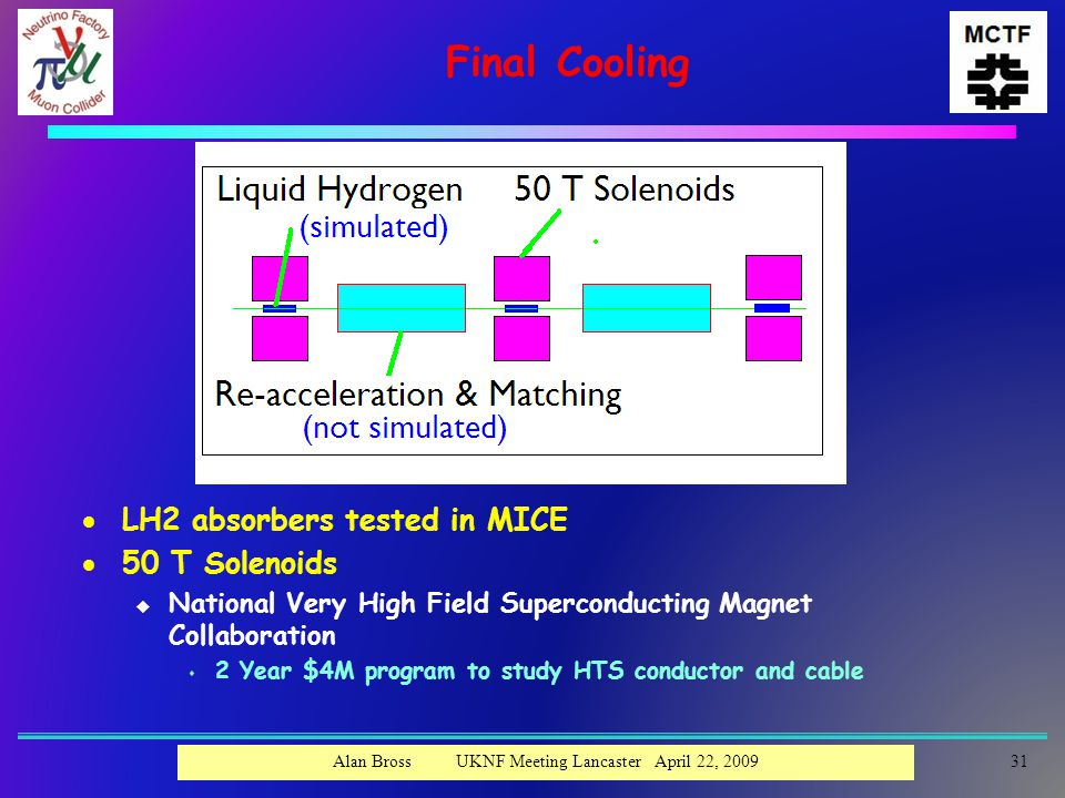 Final Cooling  LH2 absorbers tested in MICE  50 T Solenoids u National Very High Field Superconducting Magnet Collaboration s 2 Year $4M program to study HTS conductor and cable Alan Bross UKNF Meeting Lancaster April 22, 200931