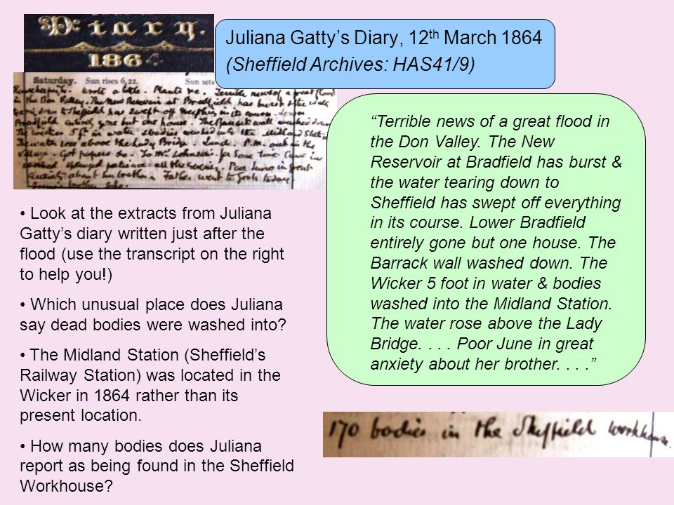 Juliana Gatty's Diary, 12 th March 1864 (Sheffield Archives: HAS41/9) Terrible news of a great flood in the Don Valley.