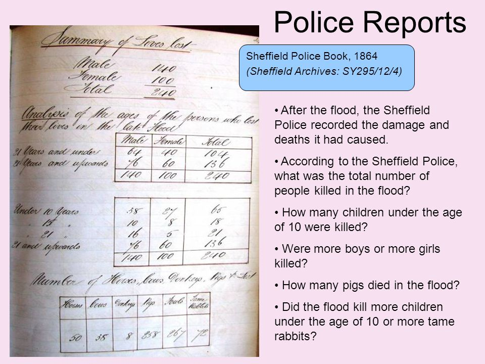 Police Reports Sheffield Police Book, 1864 (Sheffield Archives: SY295/12/4) After the flood, the Sheffield Police recorded the damage and deaths it had caused.