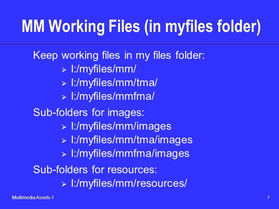 8 Multimedia Assets-1 MM Web Files (in web folder) Keep working files in my files folder:  I:/web/mm/index.html  I:/web/mm/tma/index.html  I:/web/mmfma/index.html Sub-folders for images:  I:/web/mm/images  I:/web/mm/tma/images  I:/web/mmfma/images