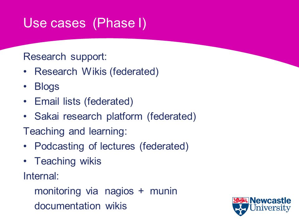 Use cases (Phase I) Research support: Research Wikis (federated) Blogs Email lists (federated) Sakai research platform (federated) Teaching and learning: Podcasting of lectures (federated) Teaching wikis Internal: monitoring via nagios + munin documentation wikis