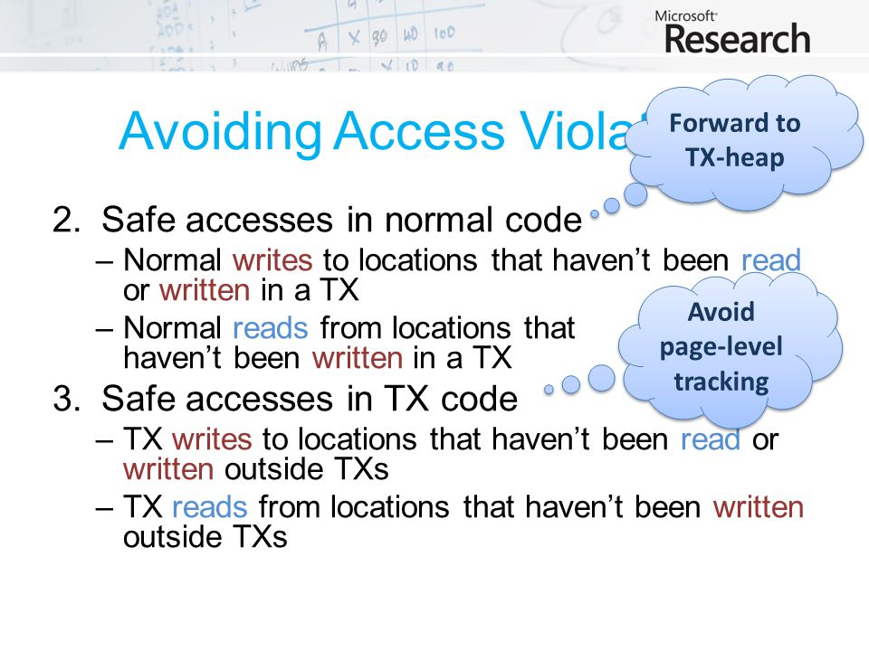 Avoiding Access Violations 2.Safe accesses in normal code –Normal writes to locations that haven't been read or written in a TX –Normal reads from locations that haven't been written in a TX 3.Safe accesses in TX code –TX writes to locations that haven't been read or written outside TXs –TX reads from locations that haven't been written outside TXs Forward to TX-heap Avoid page-level tracking