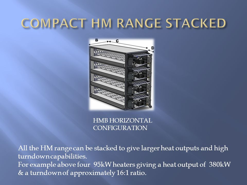 HMB HORIZONTAL CONFIGURATION All the HM range can be stacked to give larger heat outputs and high turndown capabilities.