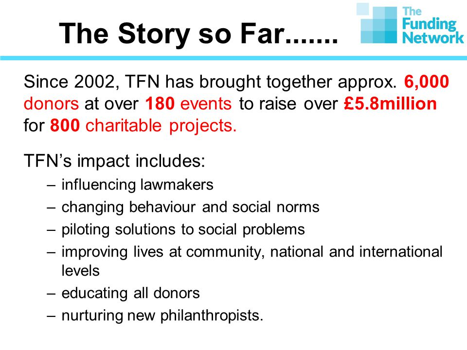 The Story so Far....... Since 2002, TFN has brought together approx.