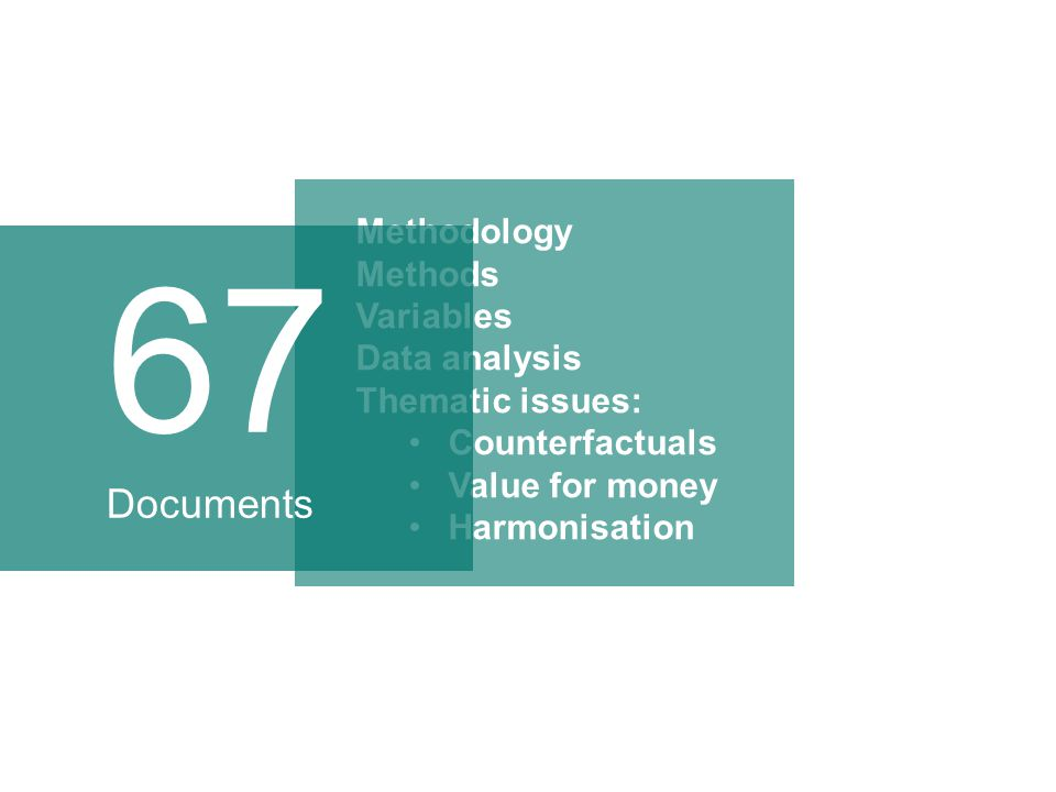 Methodology Methods Variables Data analysis Thematic issues: Counterfactuals Value for money Harmonisation 67 Documents