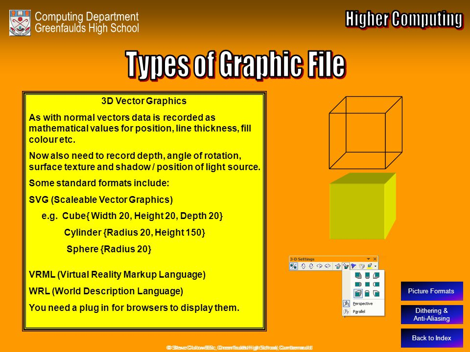 Types of Graphic File – 3D Vectors Back to Index © Steve Clulow BSc, Greenfaulds High School, Cumbernauld Dithering & Anti-Aliasing 3D Vector Graphics