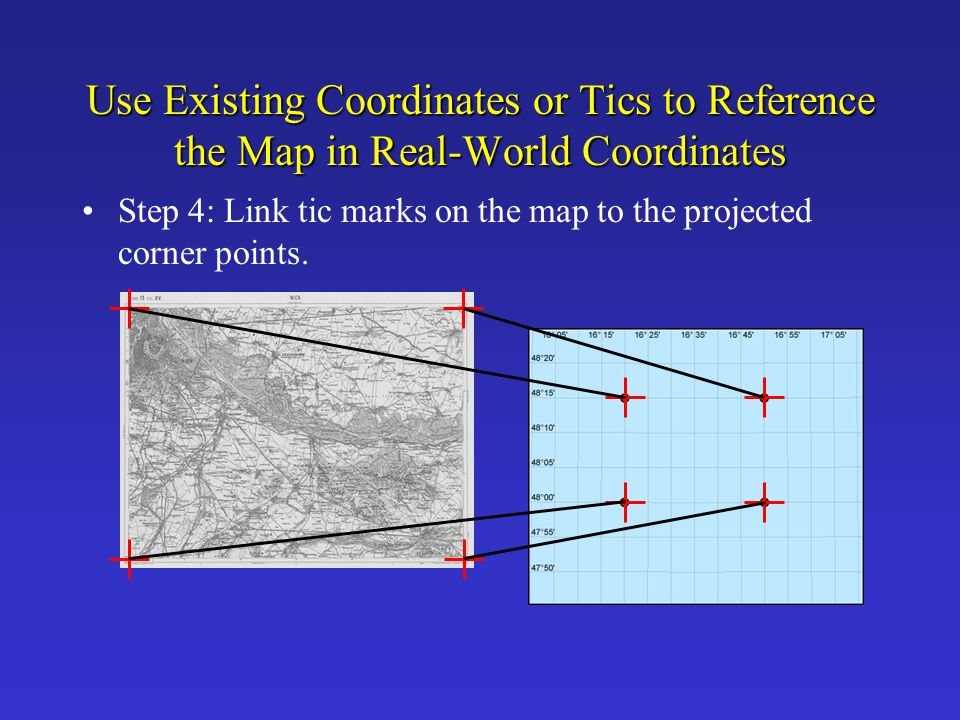 Use Existing Coordinates or Tics to Reference the Map in Real-World Coordinates Step 4: Link tic marks on the map to the projected corner points.