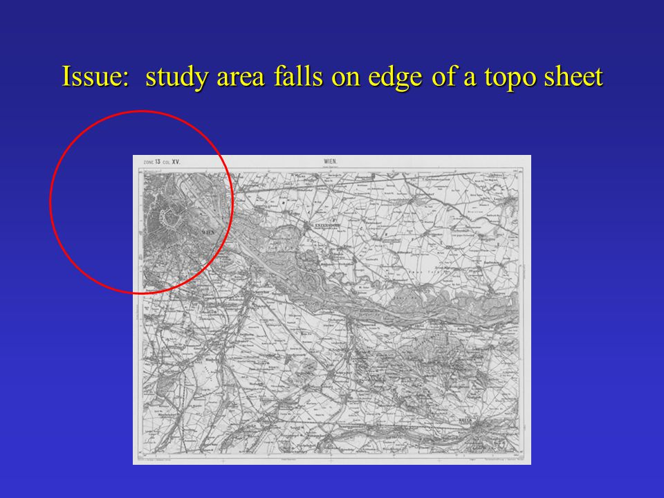 Issue: study area falls on edge of a topo sheet