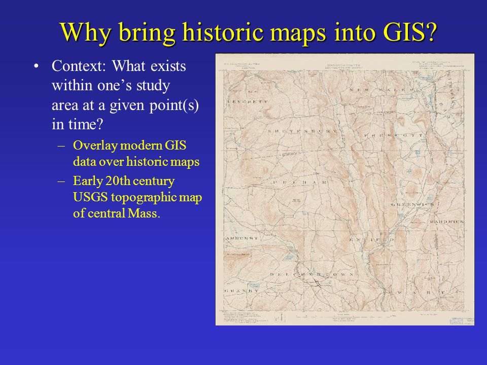 Feature Linking Steps Acquire GIS reference dataset to link the map to –Should be of equal or slightly better scale Map research –Map projection, coordinate system/datum –Identify additional map sources for reference Establish reference points to use as links –Cultural features such as street intersections, bridges, buildings, landmarks, monuments, etc.