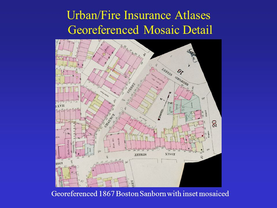 Urban/Fire Insurance Atlases Georeferenced Mosaic Detail Georeferenced 1867 Boston Sanborn with inset mosaiced