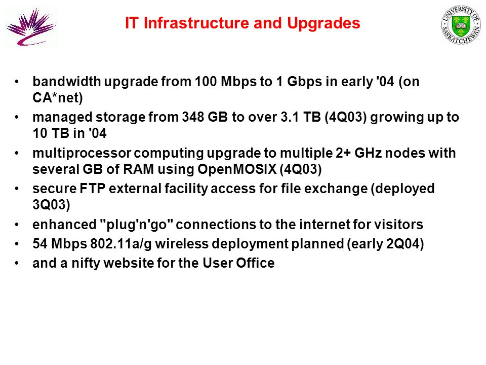 IT Infrastructure and Upgrades bandwidth upgrade from 100 Mbps to 1 Gbps in early 04 (on CA*net) managed storage from 348 GB to over 3.1 TB (4Q03) growing up to 10 TB in 04 multiprocessor computing upgrade to multiple 2+ GHz nodes with several GB of RAM using OpenMOSIX (4Q03) secure FTP external facility access for file exchange (deployed 3Q03) enhanced plug n go connections to the internet for visitors 54 Mbps 802.11a/g wireless deployment planned (early 2Q04) and a nifty website for the User Office