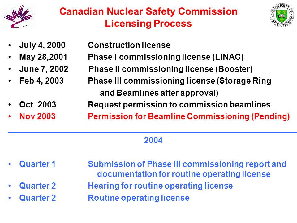 Canadian Nuclear Safety Commission Licensing Process July 4, 2000 Construction license May 28,2001 Phase I commissioning license (LINAC) June 7, 2002 Phase II commissioning license (Booster) Feb 4, 2003 Phase III commissioning license (Storage Ring and Beamlines after approval) Oct 2003 Request permission to commission beamlines Nov 2003 Permission for Beamline Commissioning (Pending) _______________________________________________________________ 2004 Quarter 1 Submission of Phase III commissioning report and documentation for routine operating license Quarter 2 Hearing for routine operating license Quarter 2 Routine operating license