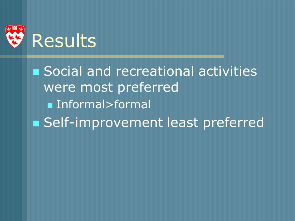 Results Social and recreational activities were most preferred Informal>formal Self-improvement least preferred