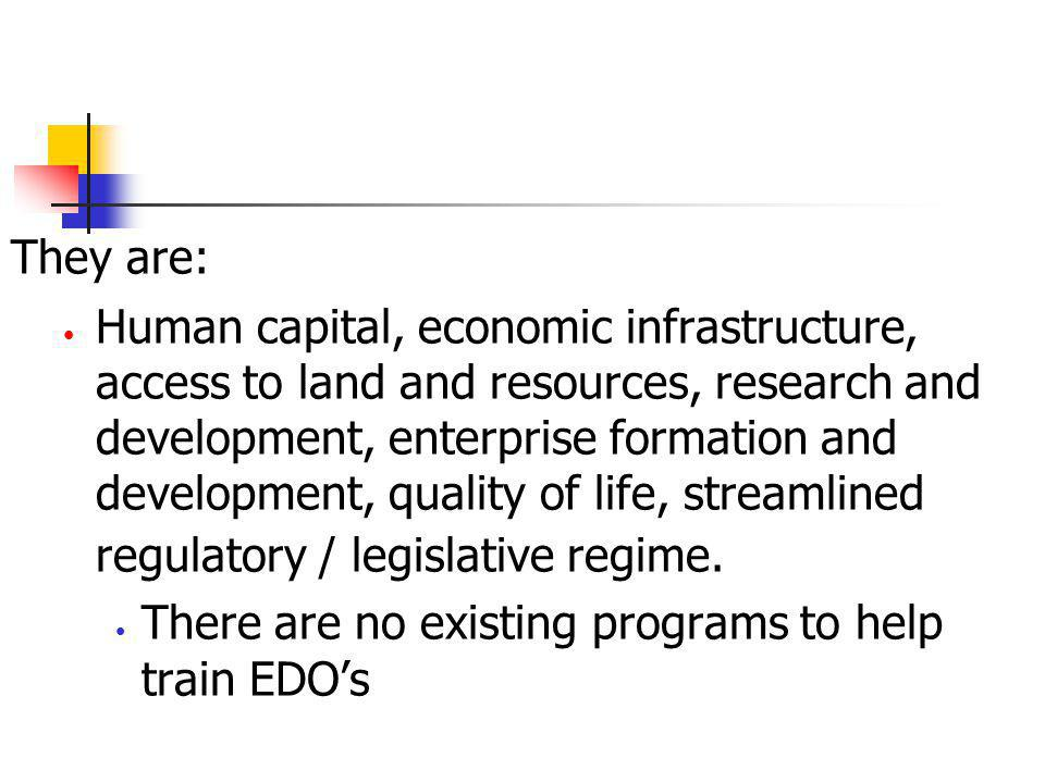 They are: Human capital, economic infrastructure, access to land and resources, research and development, enterprise formation and development, qualit